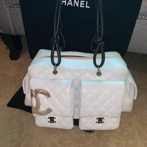 Chanel Cambon Reporter White Quilted / Python CC